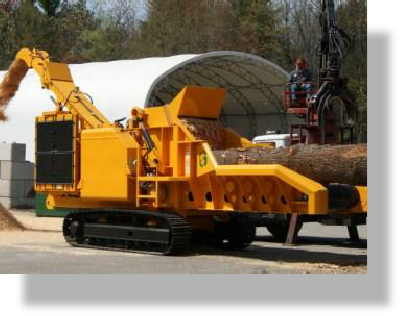 Treewood Harvesting wood chipper